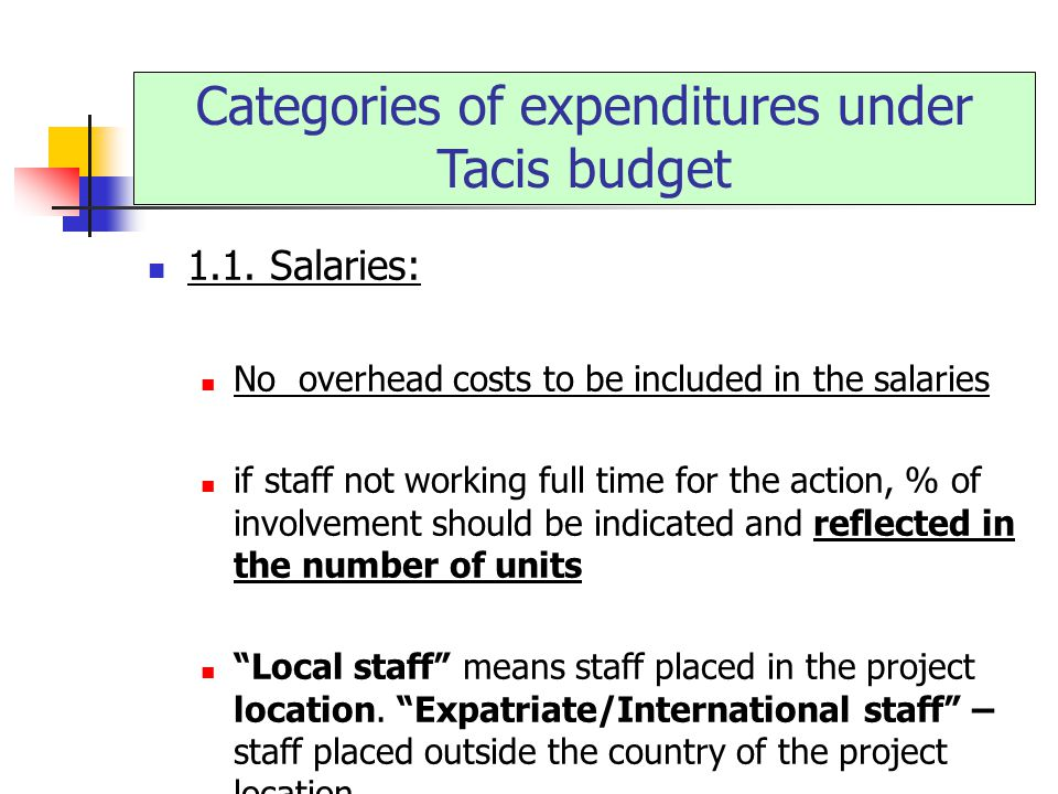 Categories of expenditures under Tacis budget 1.1.