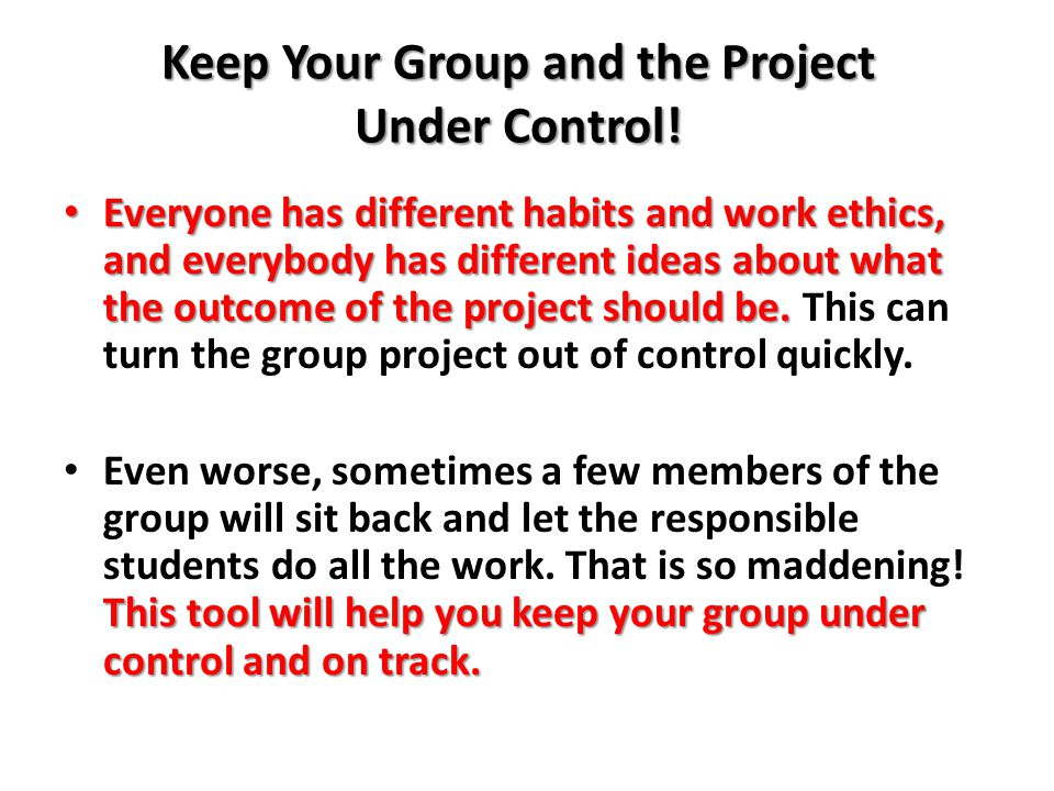 Keep Your Group and the Project Under Control.