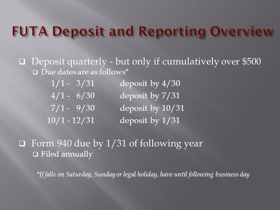  Deposit quarterly - but only if cumulatively over $500  Due dates are as follows* 1/1 - 3/31 deposit by 4/30 4/1 - 6/30 deposit by 7/31 7/1 - 9/30 deposit by 10/31 10/1 - 12/31 deposit by 1/31  Form 940 due by 1/31 of following year  Filed annually *If falls on Saturday, Sunday or legal holiday, have until following business day
