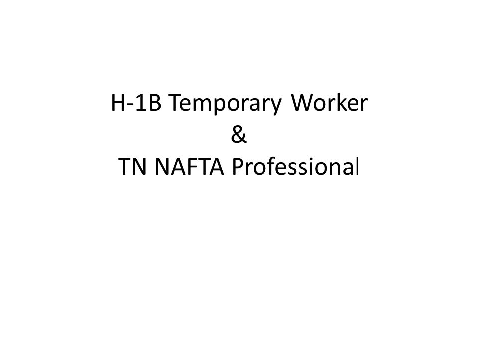 H-1B Temporary Worker & TN NAFTA Professional