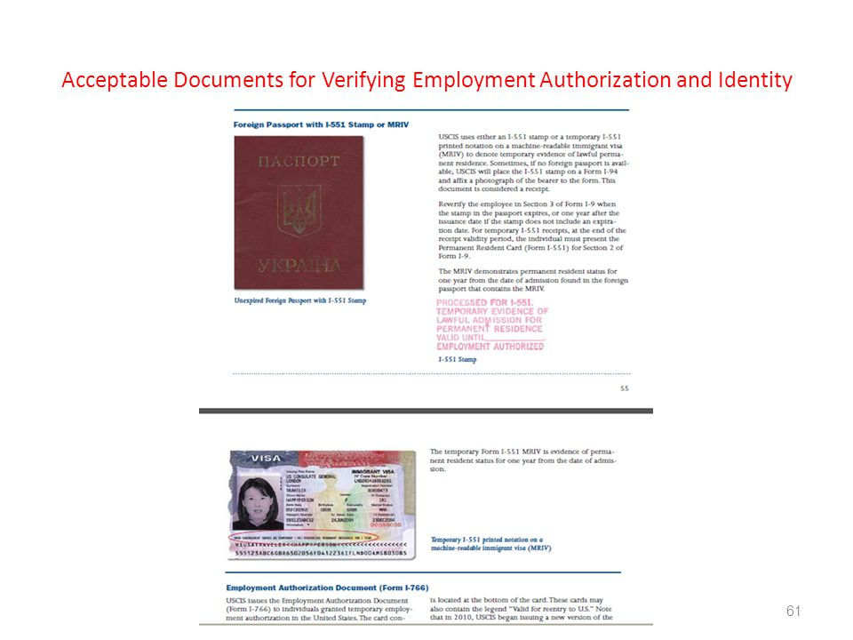 Acceptable Documents for Verifying Employment Authorization and Identity 61