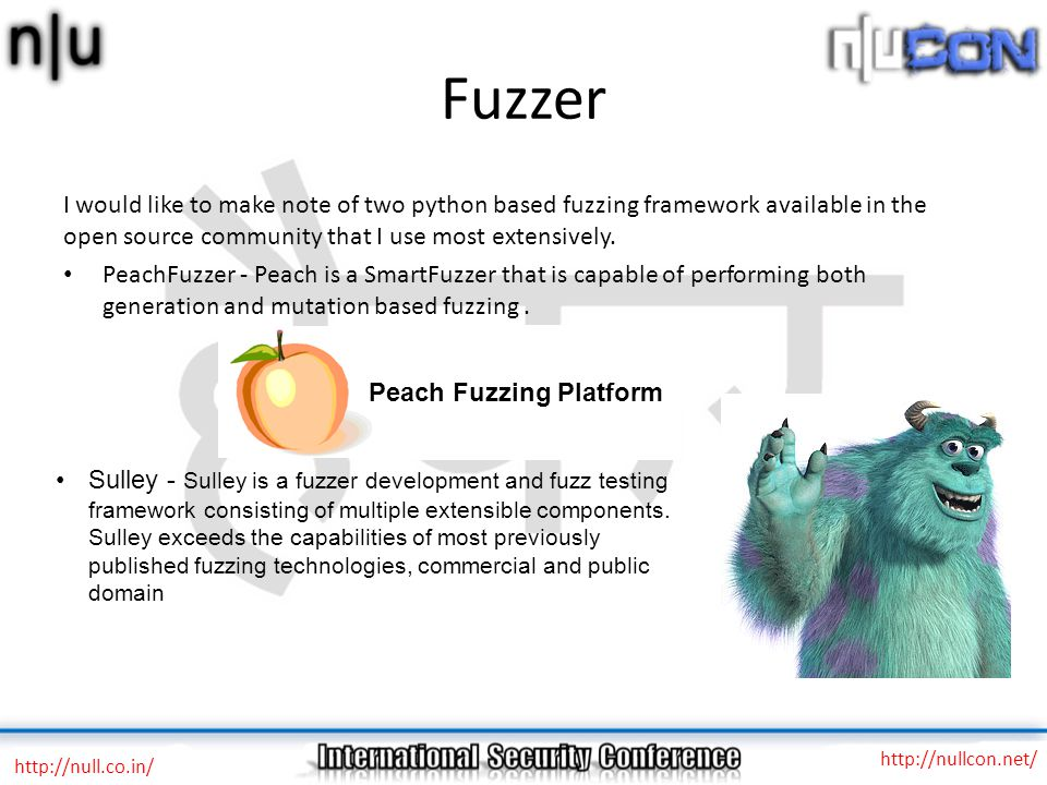 Fuzzer http://null.co.in/ http://nullcon.net/ I would like to make note of two python based fuzzing framework available in the open source community that I use most extensively.