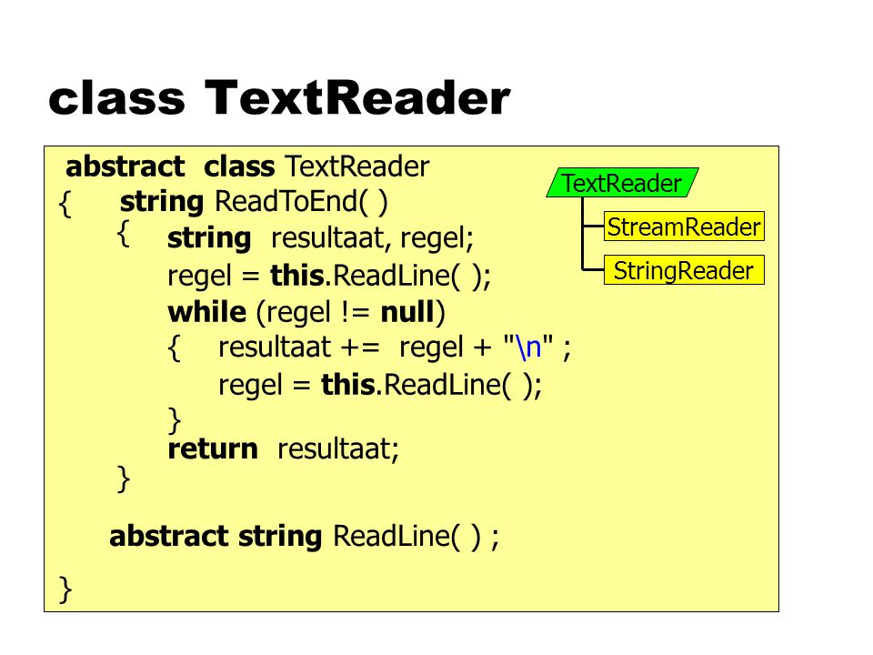 class TextReader abstract string ReadLine( ) ; class TextReader { } string ReadToEnd( ) { } string resultaat, regel; return resultaat; regel = this.ReadLine( ); while (regel != null) { } resultaat += regel + \n ; regel = this.ReadLine( ); TextReader StreamReader StringReader abstract