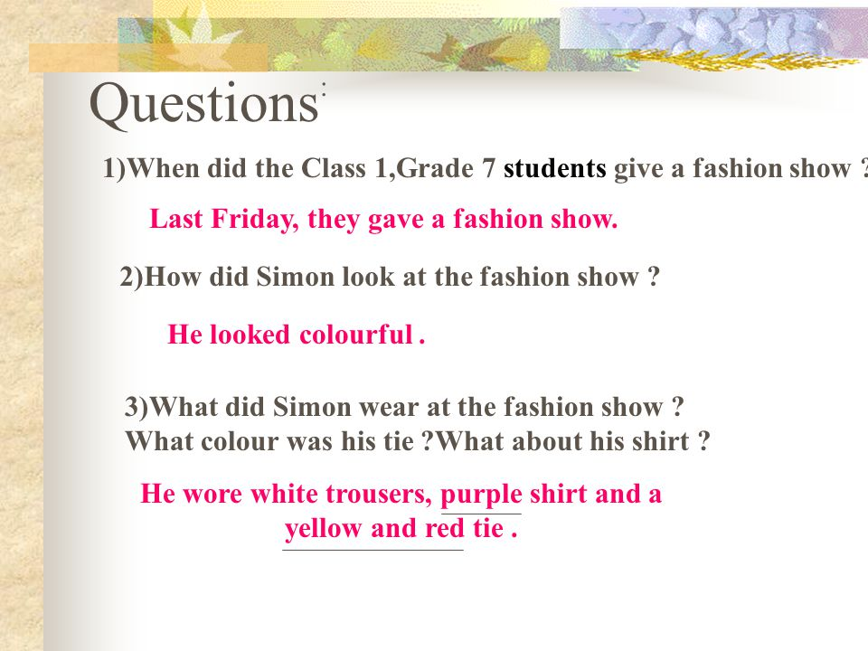question for fashion show