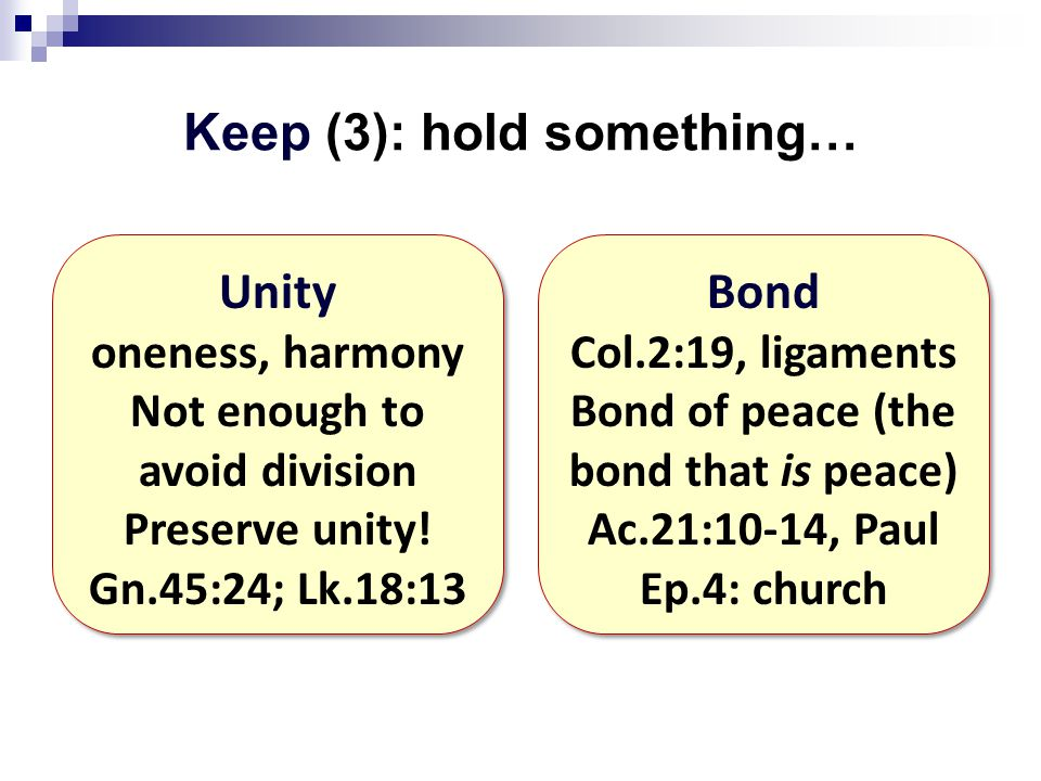 Keep (3): hold something… Unity oneness, harmony Not enough to avoid division Preserve unity.