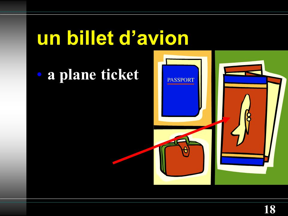 18 un billet d'avion a plane ticket
