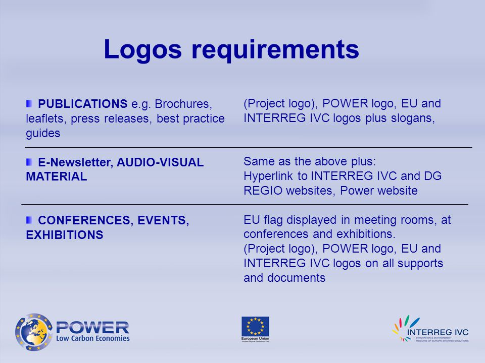Logos requirements PUBLICATIONS e.g.