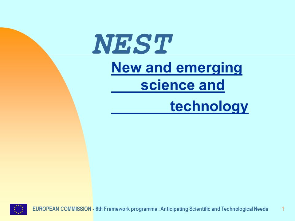 1 NEST New and emerging science and technology EUROPEAN COMMISSION - 6th Framework programme : Anticipating Scientific and Technological Needs