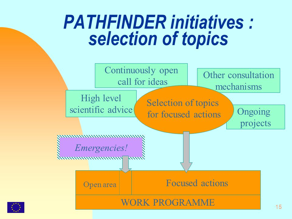 15 PATHFINDER initiatives : selection of topics WORK PROGRAMME Ongoing projects Other consultation mechanisms High level scientific advice Emergencies.