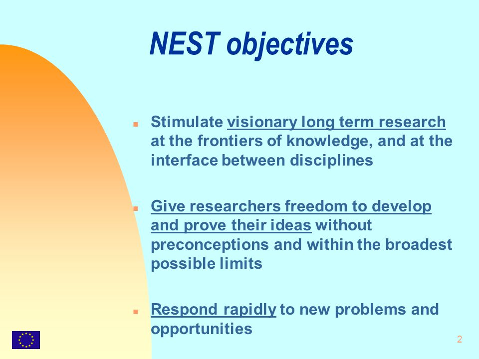 2 NEST objectives n Stimulate visionary long term research at the frontiers of knowledge, and at the interface between disciplines n Give researchers freedom to develop and prove their ideas without preconceptions and within the broadest possible limits n Respond rapidly to new problems and opportunities