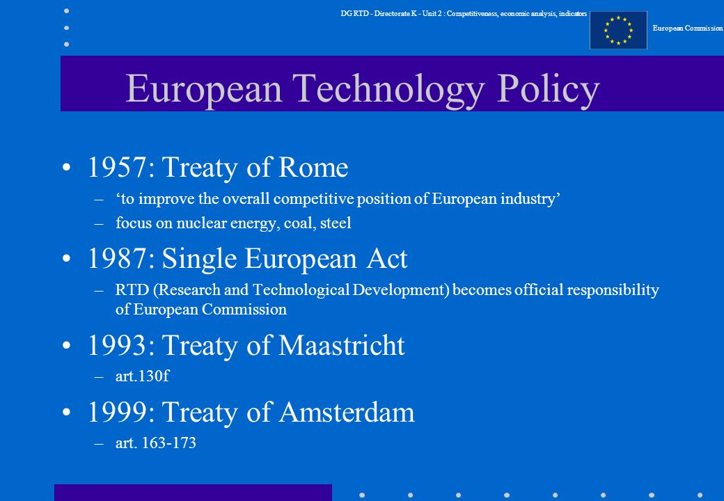 DG RTD - Directorate K - Unit 2 : Competitiveness, economic analysis, indicators European Commission European Technology Policy 1957: Treaty of Rome –'to improve the overall competitive position of European industry' –focus on nuclear energy, coal, steel 1987: Single European Act –RTD (Research and Technological Development) becomes official responsibility of European Commission 1993: Treaty of Maastricht –art.130f 1999: Treaty of Amsterdam –art.