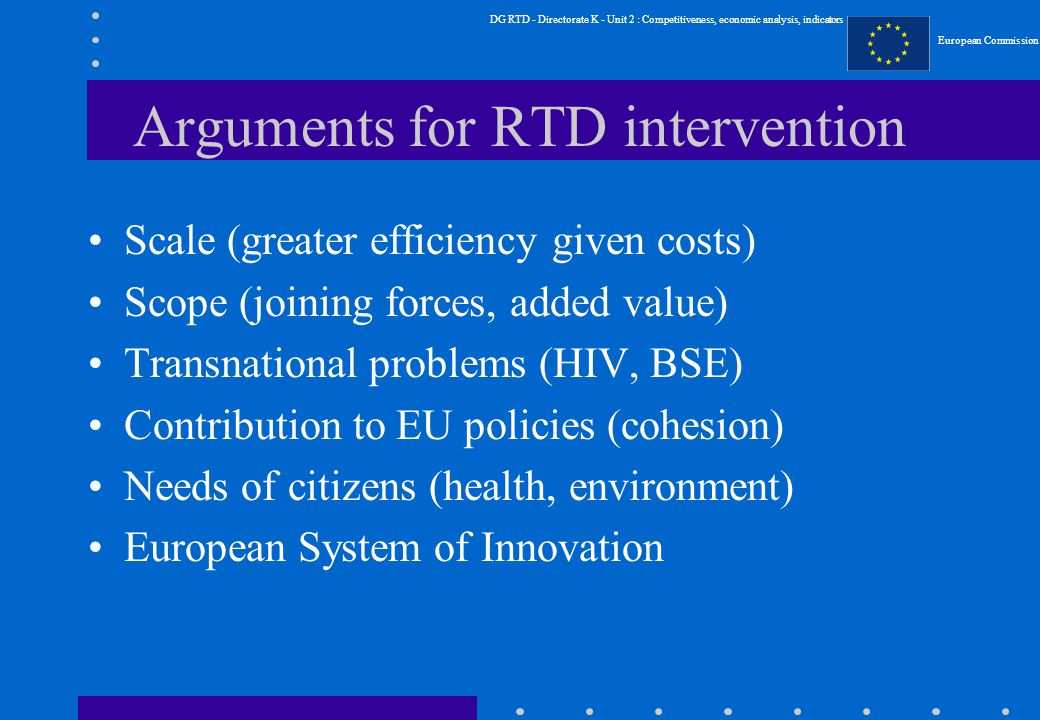 DG RTD - Directorate K - Unit 2 : Competitiveness, economic analysis, indicators European Commission Arguments for RTD intervention Scale (greater efficiency given costs) Scope (joining forces, added value) Transnational problems (HIV, BSE) Contribution to EU policies (cohesion) Needs of citizens (health, environment) European System of Innovation