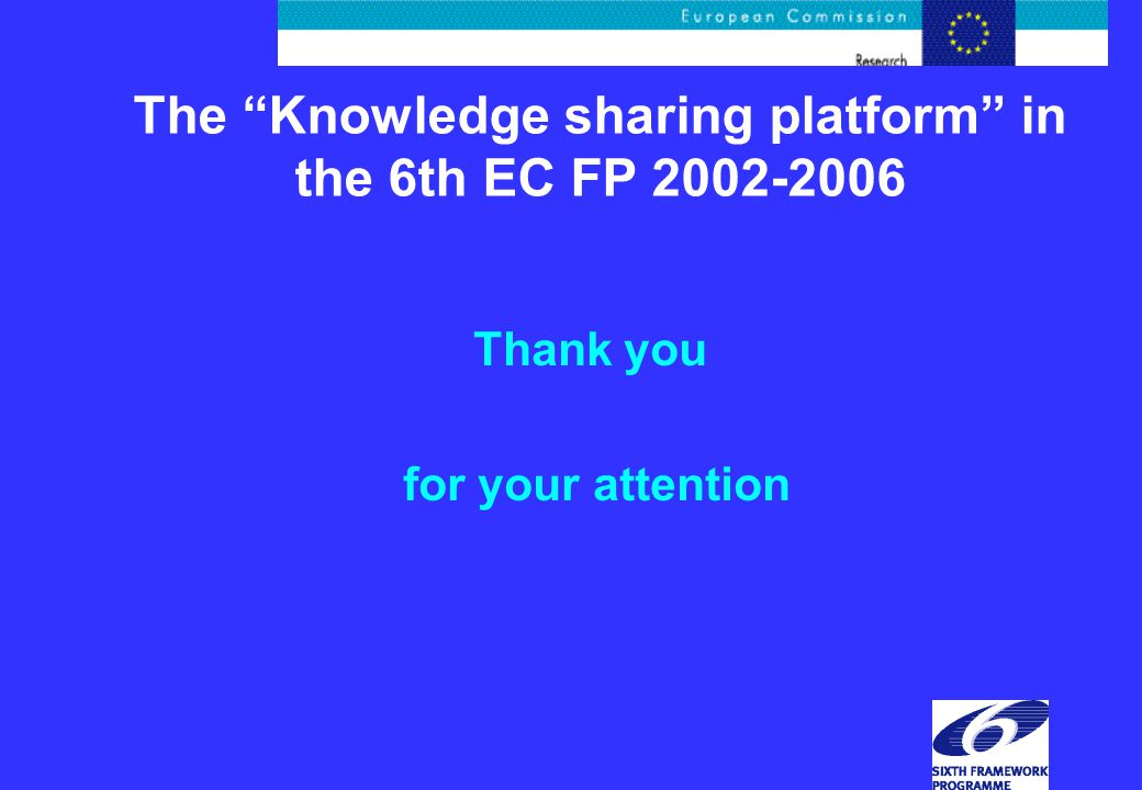 The Knowledge sharing platform in the 6th EC FP Thank you for your attention