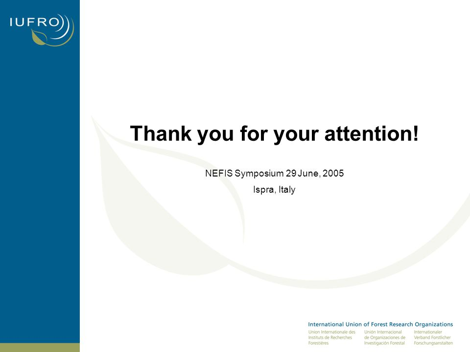 Thank you for your attention! NEFIS Symposium 29 June, 2005 Ispra, Italy