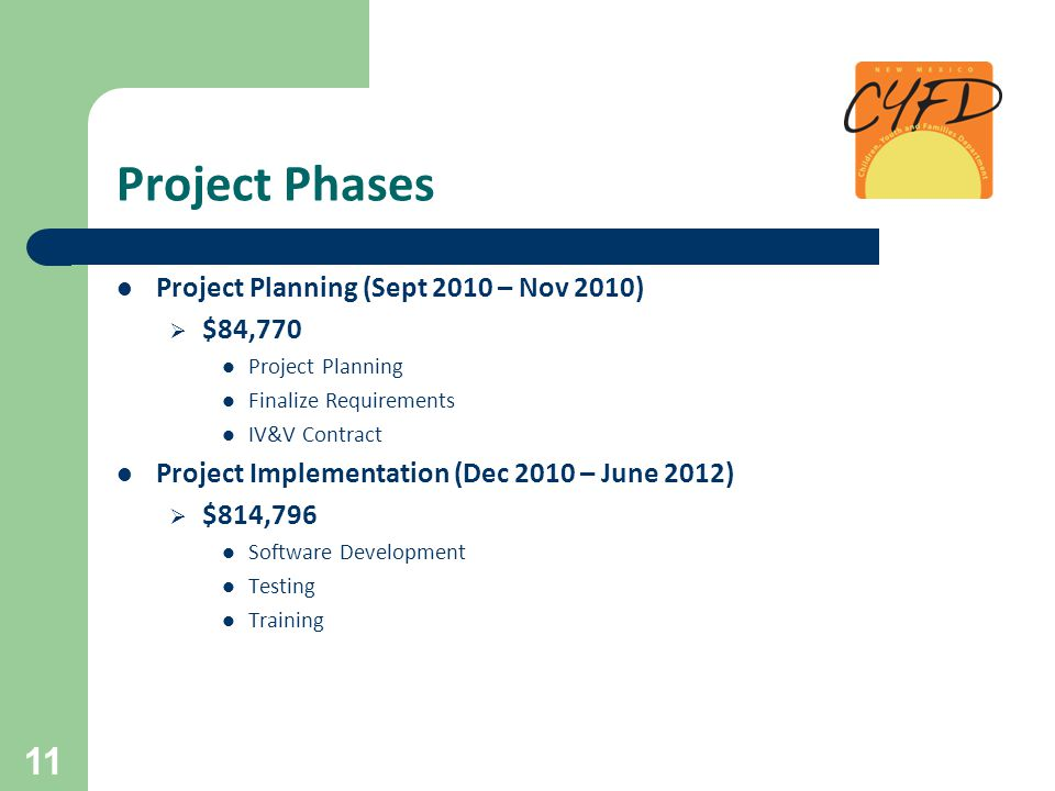 Project Phases Project Planning (Sept 2010 – Nov 2010)  $84,770 Project Planning Finalize Requirements IV&V Contract Project Implementation (Dec 2010 – June 2012)  $814,796 Software Development Testing Training 11