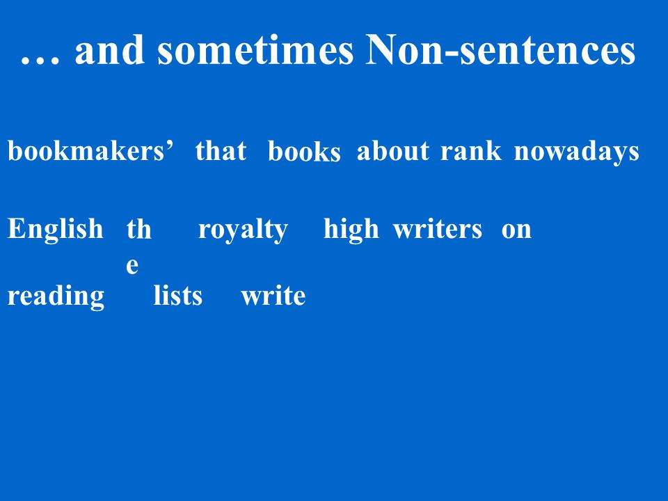 Words make sentences… books bookmakers' th e writersnowadays reading on write English high lists rank about royalty that
