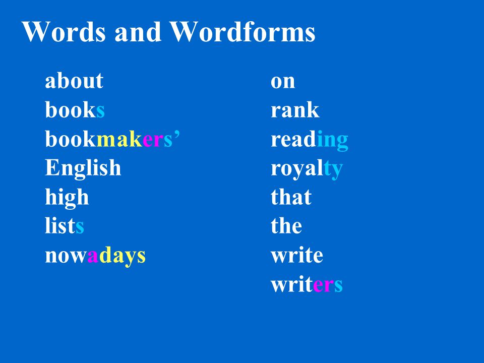 Words books bookmakers' the writers nowadays reading on write English highhigh lists rank about royalty that