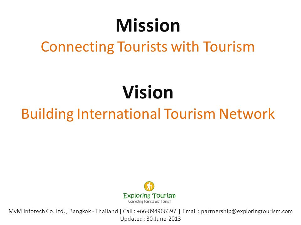 Mission Connecting Tourists with Tourism Vision Building International Tourism Network MvM Infotech Co.