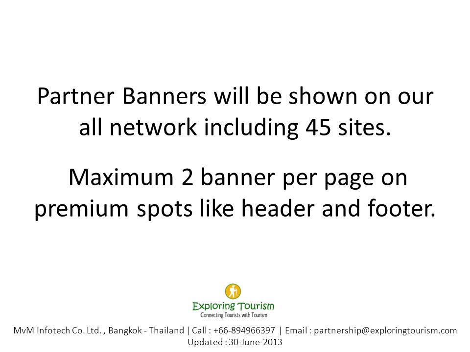 Partner Banners will be shown on our all network including 45 sites.