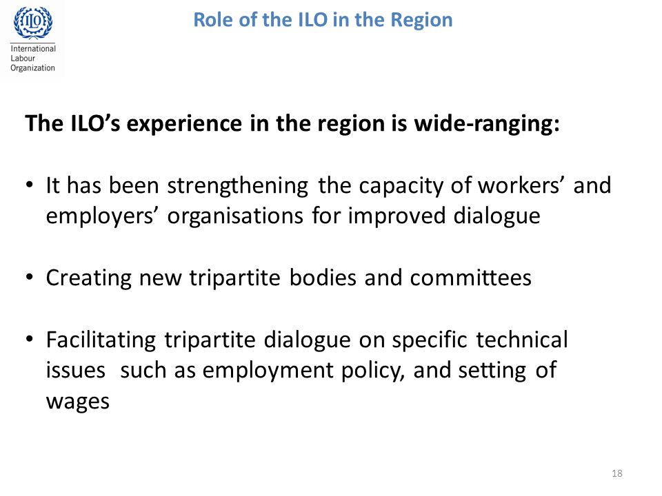 18 Role of the ILO in the Region The ILO's experience in the region is wide-ranging: It has been strengthening the capacity of workers' and employers' organisations for improved dialogue Creating new tripartite bodies and committees Facilitating tripartite dialogue on specific technical issues such as employment policy, and setting of wages