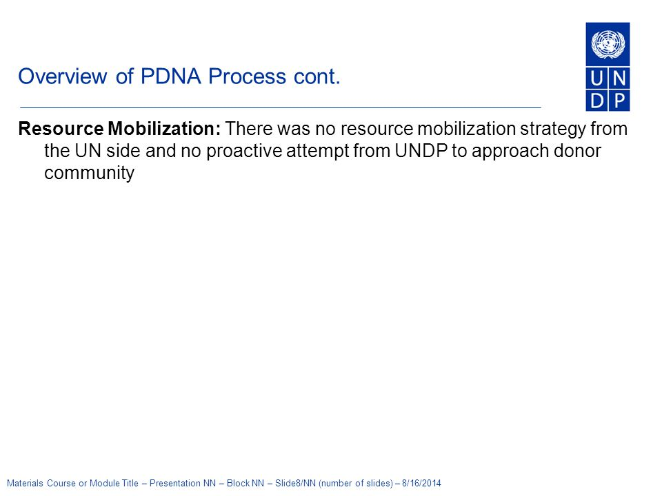 Overview of PDNA Process cont.