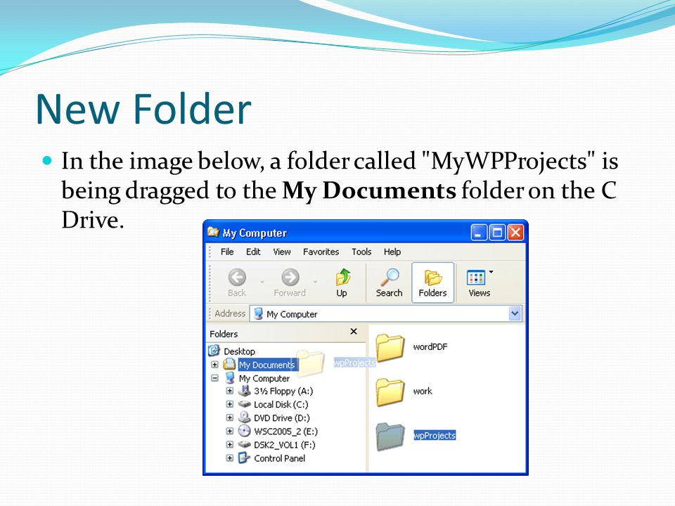 New Folder In the image below, a folder called MyWPProjects is being dragged to the My Documents folder on the C Drive.