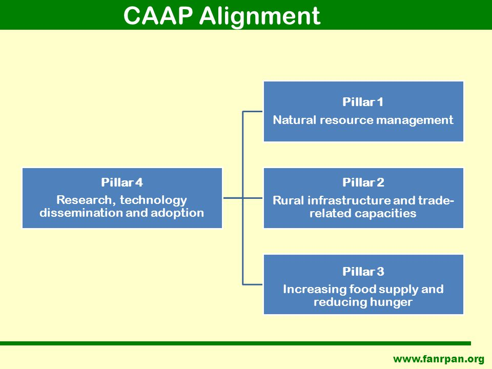 CAAP Alignment Pillar 4 Research, technology dissemination and adoption Pillar 1 Natural resource management Pillar 2 Rural infrastructure and trade- related capacities Pillar 3 Increasing food supply and reducing hunger