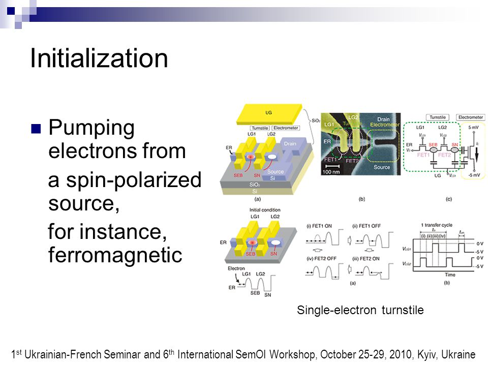 Initialization Pumping electrons from a spin-polarized source, for instance, ferromagnetic Single-electron turnstile 1 st Ukrainian-French Seminar and 6 th International SemOI Workshop, October 25-29, 2010, Kyiv, Ukraine
