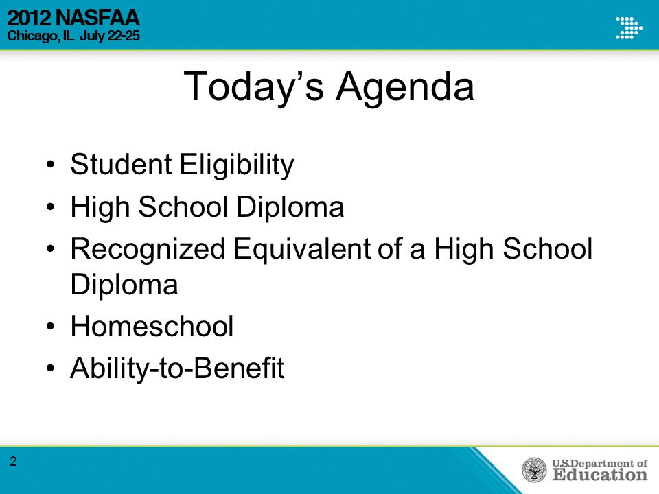 Today's Agenda Student Eligibility High School Diploma Recognized Equivalent of a High School Diploma Homeschool Ability-to-Benefit 2