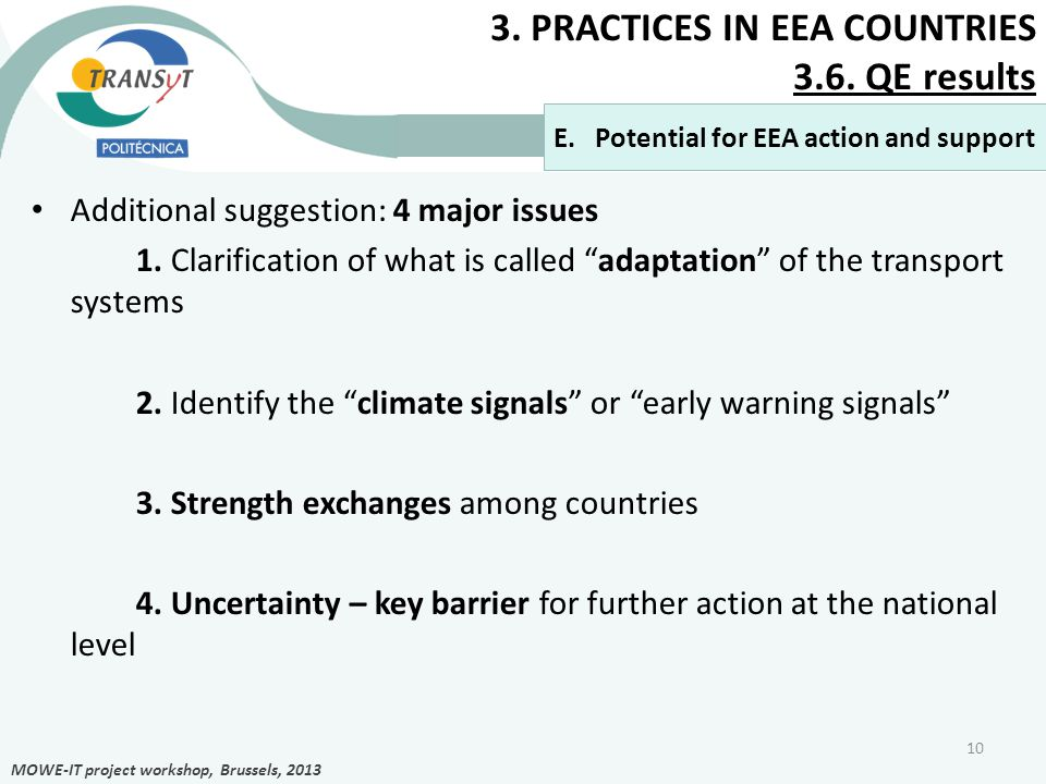 3. PRACTICES IN EEA COUNTRIES 3.6. QE results Additional suggestion: 4 major issues 1.