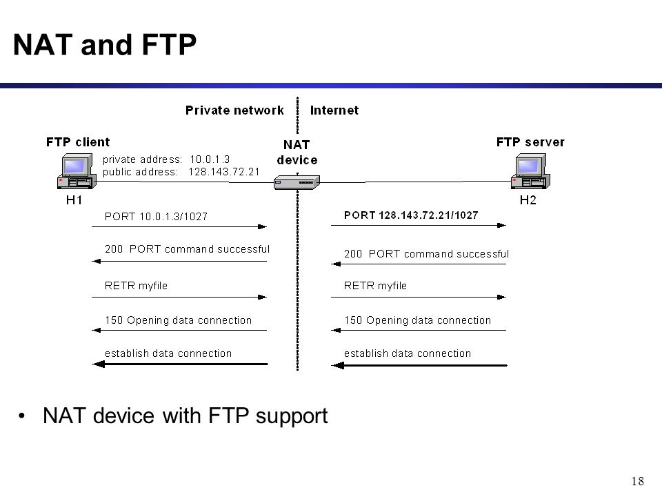 18 NAT and FTP NAT device with FTP support