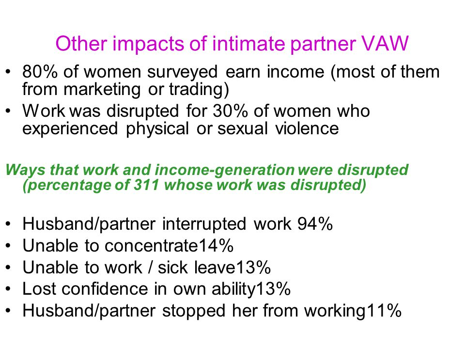 Other impacts of intimate partner VAW 80% of women surveyed earn income (most of them from marketing or trading) Work was disrupted for 30% of women who experienced physical or sexual violence Ways that work and income-generation were disrupted (percentage of 311 whose work was disrupted) Husband/partner interrupted work 94% Unable to concentrate14% Unable to work / sick leave13% Lost confidence in own ability13% Husband/partner stopped her from working11%