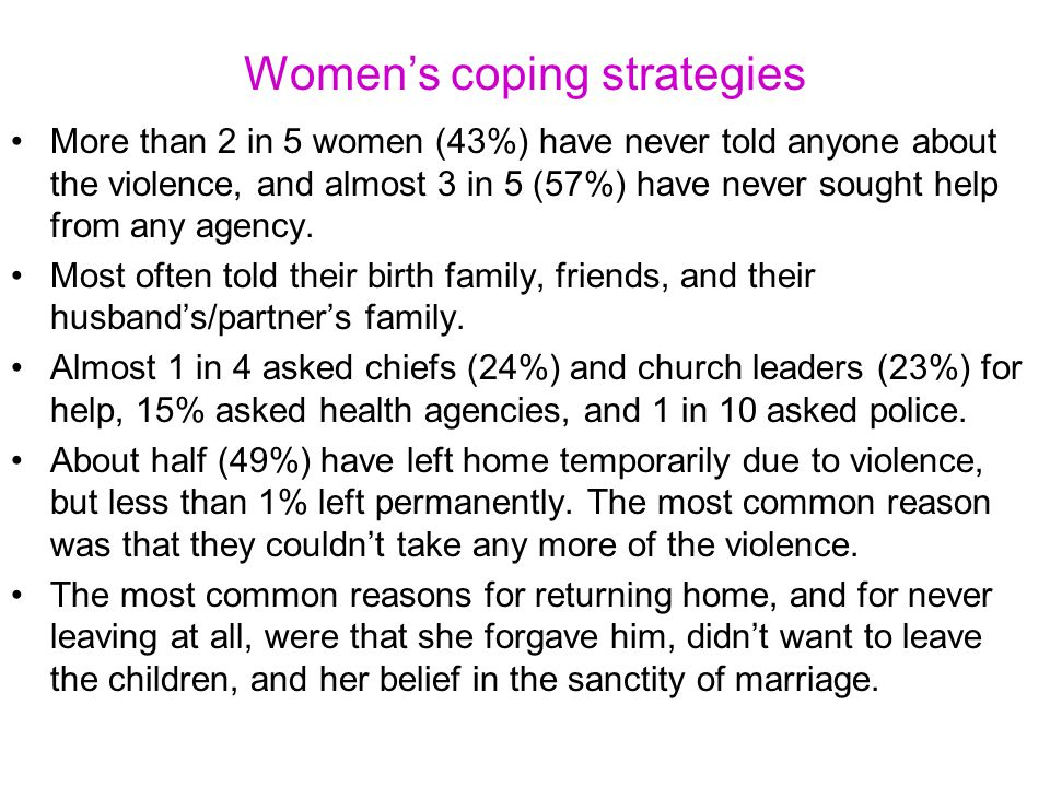 Women's coping strategies More than 2 in 5 women (43%) have never told anyone about the violence, and almost 3 in 5 (57%) have never sought help from any agency.