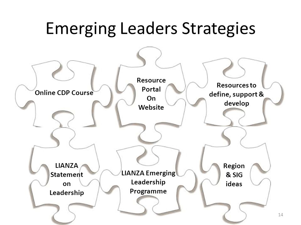 Emerging Leaders Strategies Online CDP Course Resource Portal On Website Resources to define, support & develop LIANZA Emerging Leadership Programme Region & SIG ideas LIANZA Statement on Leadership 14