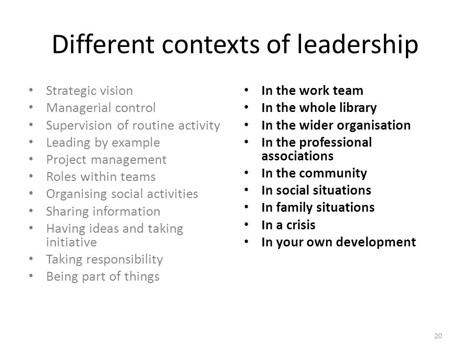 Different contexts of leadership Strategic vision Managerial control Supervision of routine activity Leading by example Project management Roles within teams Organising social activities Sharing information Having ideas and taking initiative Taking responsibility Being part of things In the work team In the whole library In the wider organisation In the professional associations In the community In social situations In family situations In a crisis In your own development 20