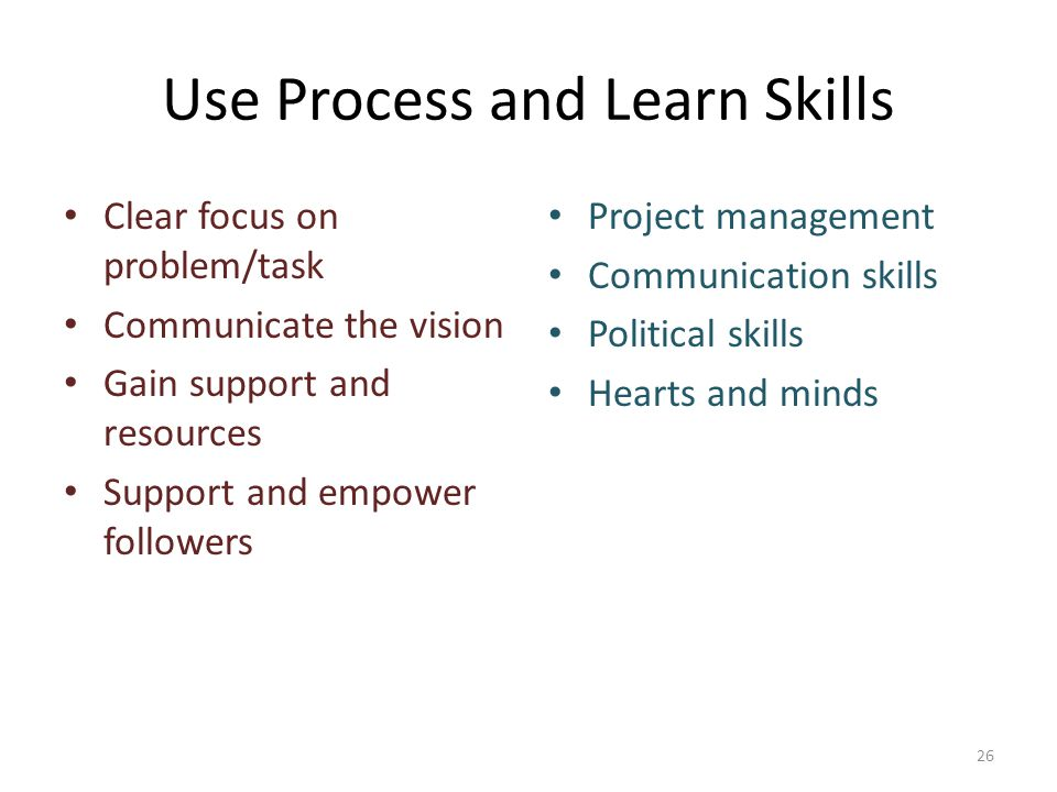 Use Process and Learn Skills Clear focus on problem/task Communicate the vision Gain support and resources Support and empower followers Project management Communication skills Political skills Hearts and minds 26