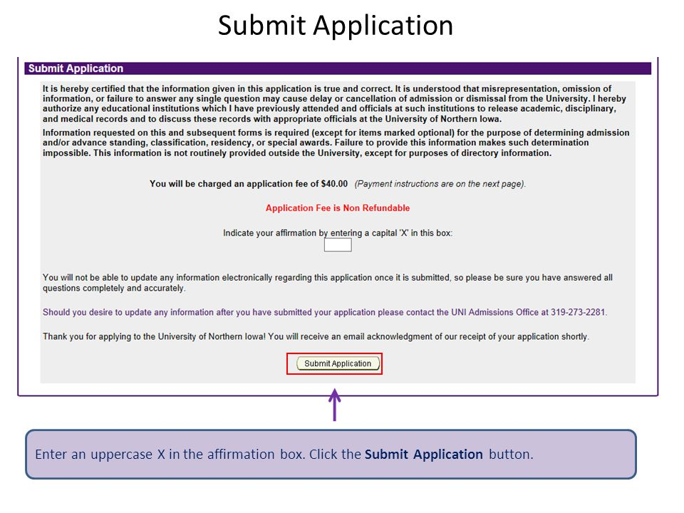 Submit Application Enter an uppercase X in the affirmation box.