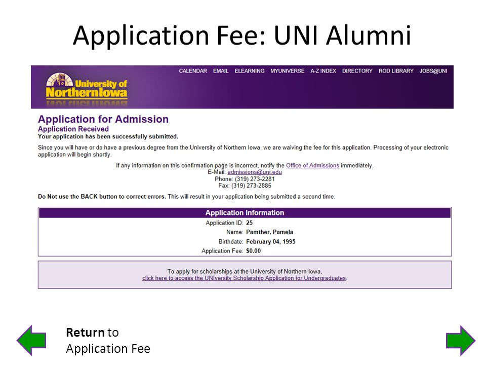 Application Fee: UNI Alumni Return to Application Fee