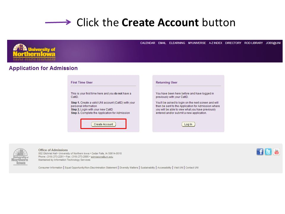 Click the Create Account button