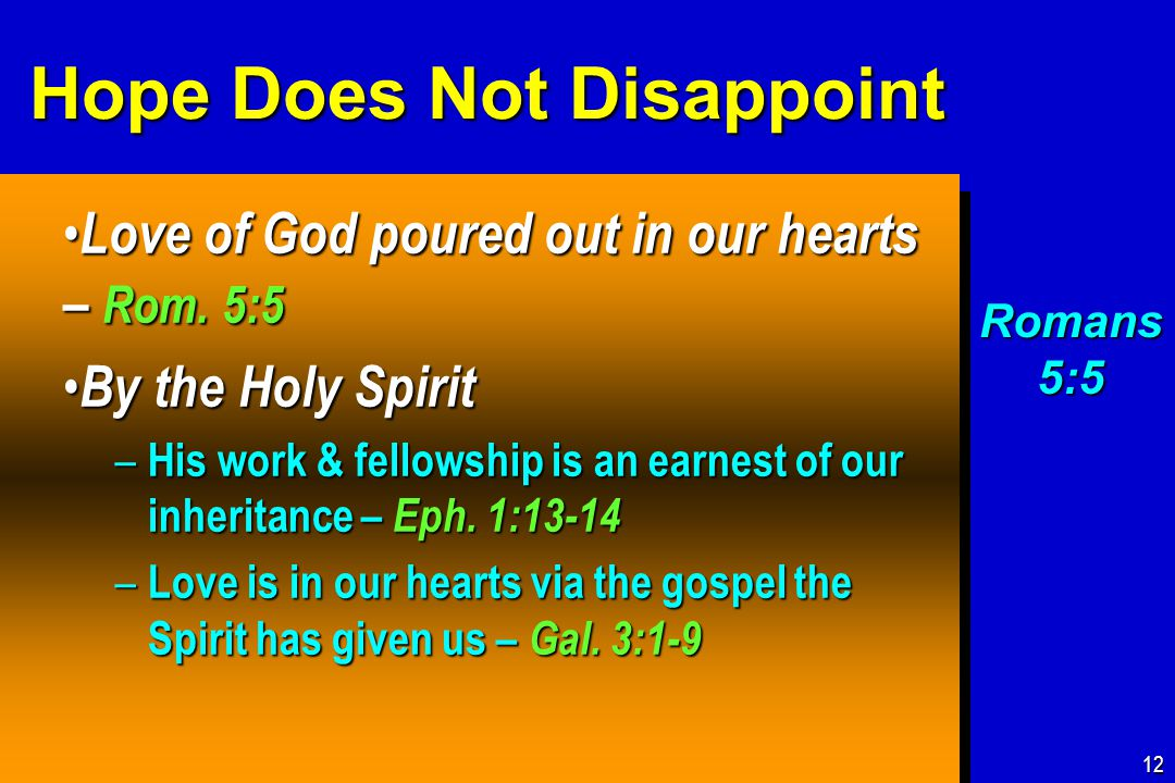 Hope Does Not Disappoint Love of God poured out in our hearts – Rom.
