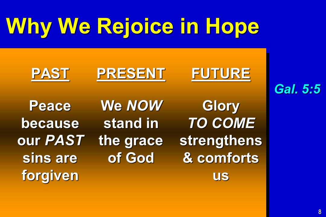 Why We Rejoice in Hope PAST Peace because our PAST sins are forgiven FUTURE Glory TO COME strengthens & comforts us 8 PRESENT We NOW stand in the grace of God Gal.