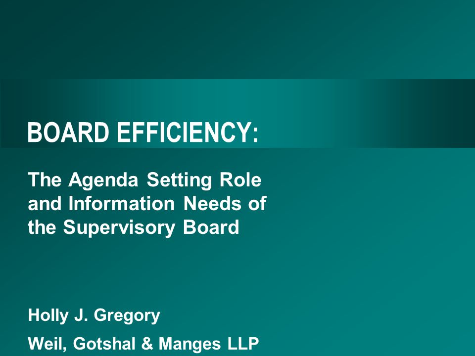BOARD EFFICIENCY: The Agenda Setting Role and Information Needs of the Supervisory Board Holly J.