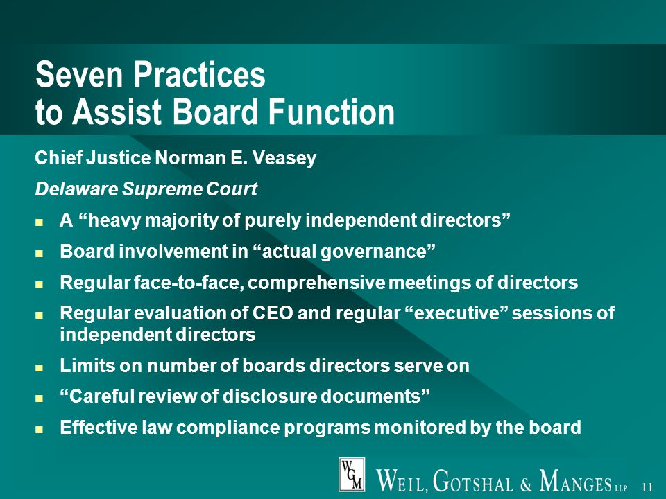 11 Seven Practices to Assist Board Function Chief Justice Norman E.
