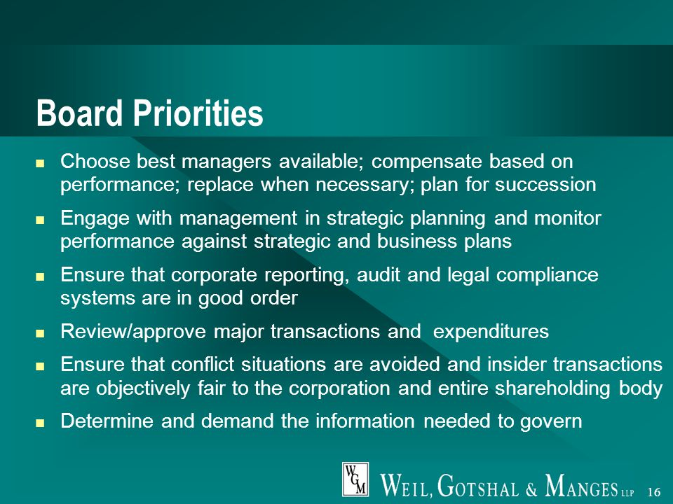 16 Board Priorities Choose best managers available; compensate based on performance; replace when necessary; plan for succession Engage with management in strategic planning and monitor performance against strategic and business plans Ensure that corporate reporting, audit and legal compliance systems are in good order Review/approve major transactions and expenditures Ensure that conflict situations are avoided and insider transactions are objectively fair to the corporation and entire shareholding body Determine and demand the information needed to govern