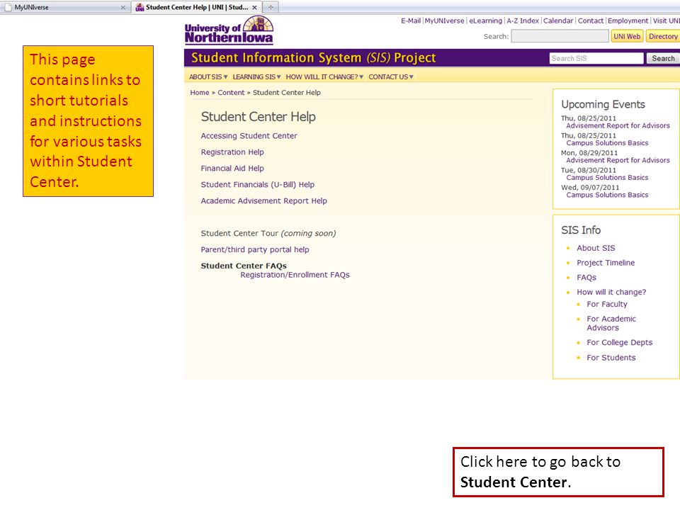This page contains links to short tutorials and instructions for various tasks within Student Center.