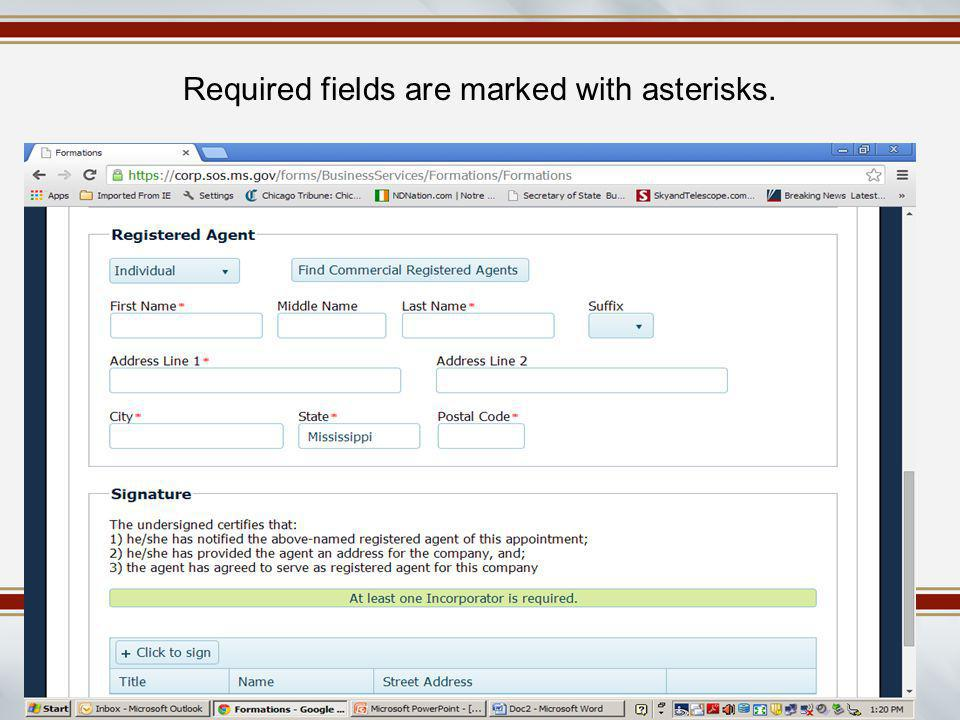 Required fields are marked with asterisks.