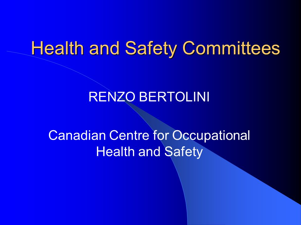 Health and Safety Committees RENZO BERTOLINI Canadian Centre for Occupational Health and Safety