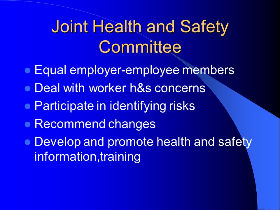 Joint Health and Safety Committee Equal employer-employee members Deal with worker h&s concerns Participate in identifying risks Recommend changes Develop and promote health and safety information,training