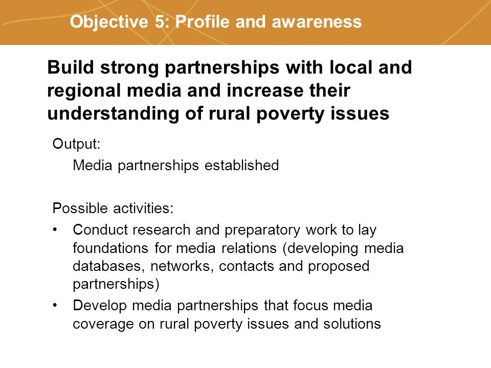 Farmers' organizations, policies and markets Objective 5: Profile and awareness Output: Media partnerships established Possible activities: Conduct research and preparatory work to lay foundations for media relations (developing media databases, networks, contacts and proposed partnerships) Develop media partnerships that focus media coverage on rural poverty issues and solutions Build strong partnerships with local and regional media and increase their understanding of rural poverty issues