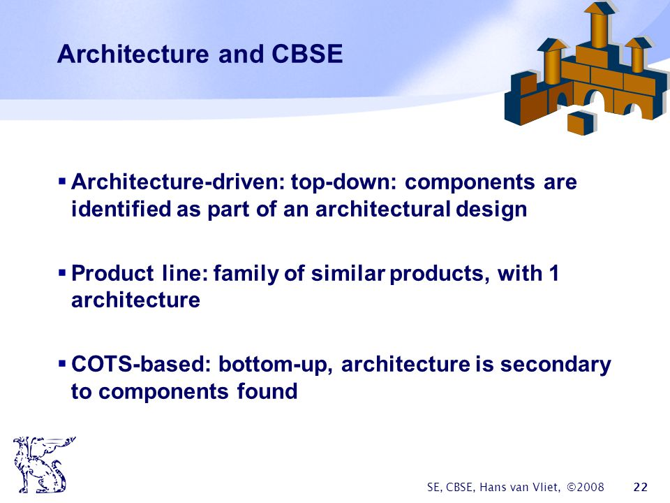 SE, CBSE, Hans van Vliet, © Architecture and CBSE  Architecture-driven: top-down: components are identified as part of an architectural design  Product line: family of similar products, with 1 architecture  COTS-based: bottom-up, architecture is secondary to components found